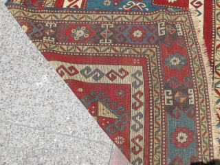"""Kazak prayer rug with bold drawing and color. later 19th century, 4'4""""×5'6"""" Inv#19699. Recently acquired, reasonably priced. Good condition with three small areas of overcasting. Otherwise, no surprises."""