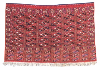 "Tekke Turkmen chuval with aina gul design in both field and elem. Finely woven with copious amounts of silk. 2'3""x3'6""