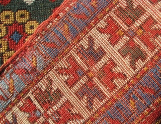 "Fachralo Kazak Prayer Rug. An uncommon variant on the standard Fachralo design. Compare Kaffel ""Caucasian Prayer Rugs"" plate 20.  Dated 1280(?) which would put it into the 1860's and seems  ..."