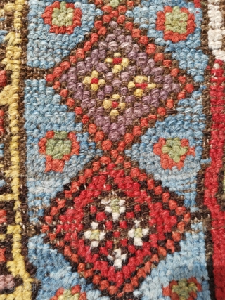 Konya Prayer rug circa 1850. A beautiful coarsely knotted piece with multi-colour wefts. size 194 x 110 (6'4 x 3'7)