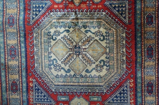 Authentic Caucasian Kazakh rug circa 1960 from Azerbaijan c. 167 x 98 cm  This unique handmade rug dates to the second half of the 20th century - (1960-1970).  It is in an excellent  ...