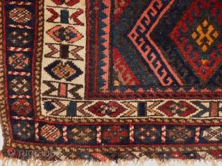 Jaff Koerd Bagface 1900 jh, mooie kleuren, zacht en Glanzend wol, met orginale zijden (Shirazeh). size 74x114 cm