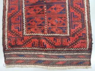 Beluch rug with lovely colors and striking design, original selvedges, kelim on both ends, 19th. Century sizes 170x120 cm