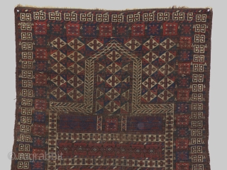 Antique Turkoman engsi around 1880(Wool and silk) . Maybe Belutchi or Arabatchi?  size 136x105 cm