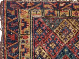 Jaff Koerd Bag,1900 jh, mooie kleuren, zacht en Glanzend wol, size;62x65 cm