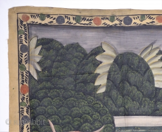 Antique handpainted and not stamped India textile with figures. minor damage on upper right corner. size: 110 x 90 cm
