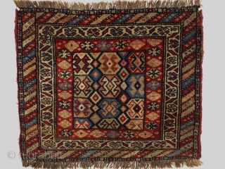 Rare Shahsavan bagface, wool on wool, with the original shirazi.Around 1900. Soft lustrous wool ,with striking colors.size 60 x 70 cm