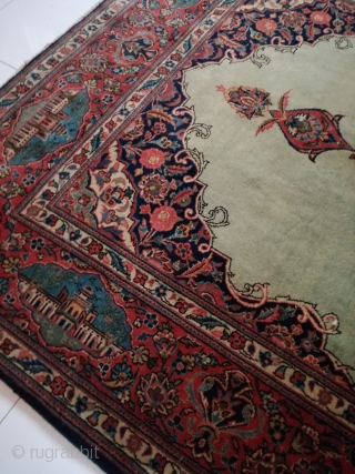 An old Kashan with light green blue. Very good condition. 180/130 cm.