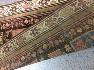 An old Kurdish runner with 330/100 cm. Used with demages. Fine wool quality.