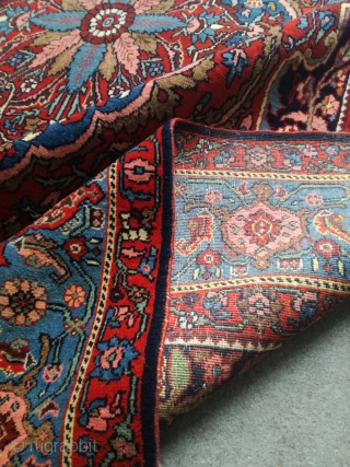 An antique Halvai Bidjar with 215/145 cm. Very good shape with kilim endings (must be repaired). All natural dyes. Extremly soft, light and fine. On wool foundation.