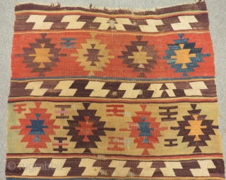 Early 19th Century Central Anatolian Aksaray Kilim Size.260x112 Cm