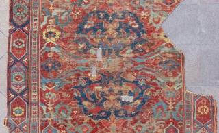 Mid 18th Century West Anatolian Ushak fragment Rug Size.315x195 Cm