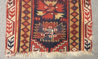 Antique West Anatolian Megri Fragment Rug Size.60X60cm