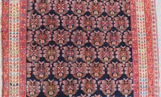 Antique Afshar Carpet Size.136x126cm