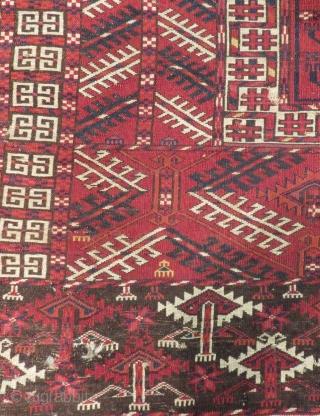 Antique Türkmen Ensi At Bordur Some Area White is Cotton Size.140x120cm