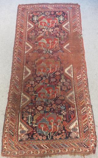 Antique Qashqaii or Khamseh Rug Size.230x108cm