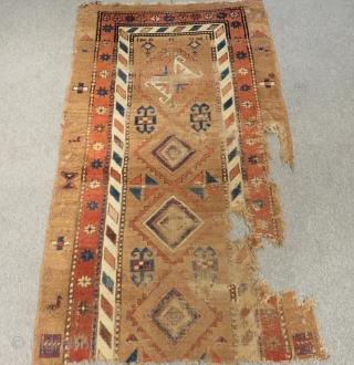 Antique Persian fragment Rug Size 176x102 Cm