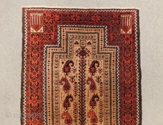 Antique Baluch Prayer Rug Circa 1890 All Colours Natural Size.140X83 Cm