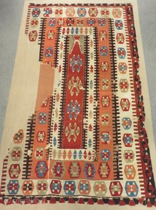 Early 19th Century Central Anatolian Konya Prayer Kilim Size.210x125 Cm