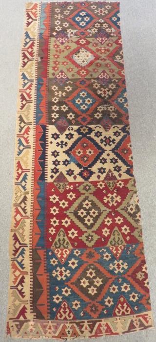 19th Century East Anatolian Kilim Fragment Size.265x85cm