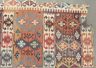 18th Century East Anatolian Sivas Kilim One Part Size.265x72cm