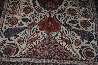 Beautiful Old Kalamakar, Qalamkar, Persian in very good condition, signed, backed with very nice old 19th century Russian cotton