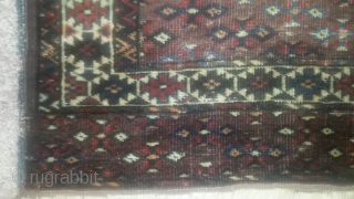 19th cen Turkmen, tribe unknown, possible chodor or youmud sub-tribe, eagle wedding u tell me. Overall low but intact. assym open r, cotton weft, wool and goat hair  warps.   ...