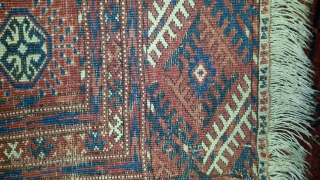 """Turkmen Tekke 82""""x54"""" nice drawing,, weave, wool, colors and handle. earlier 1900's ,headends intact, floor ready estate find in good condition,very minor crease wear, even full pile, shows well on the floor,  ..."""