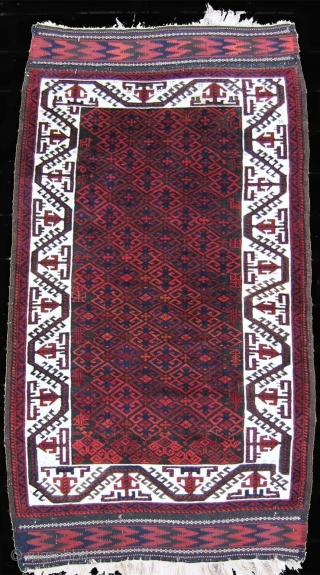 "Baluchi rug circa 1900, 3'2' x 5'8"" in over-all excellent condition with some minor corrosion of the brown. High color saturation with exceptional wool."