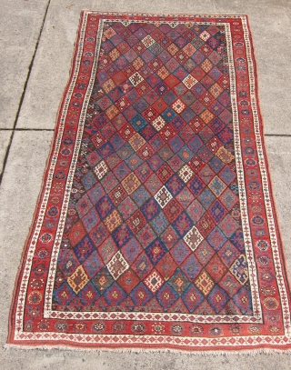 """Jaf Kurd rug, Late 19th c., 4'8"""" x 8'4"""".  An exceptional Jaf Kurd rug, rare and beautiful. Lovely naturally dyed colors in an amazing display of diamonds.  Approximately, approx. 2  ..."""