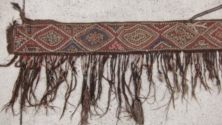 """Kungrat tent band 8"""" x 7'11""""  A remarkable tent band from the early 20th C.  All colors appear to be natural.  A floating spirit form, animals, and metal talismans  ..."""