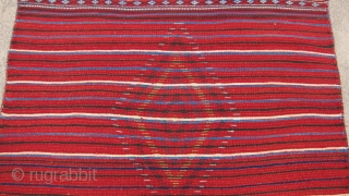 """One of 6 dramatic and colorful sleeping rugs purchased from Baluchi tribesmen living in the area between Quetta and Kandahar. The rug measures 47"""" x 69"""".  The wool is long and  ..."""