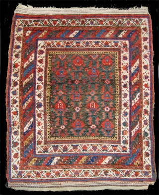 """Rare and beautiful Sanjabi Kurd yatak, late 19th or early 20th c.  4'2"""" x 5'4"""", in remarkably good condition.  Superb color and wool."""