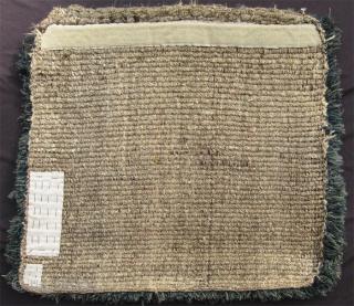 "19th C. Tibetan mat, 2'7"" x 2'7"", warp faced back weave, double dorje design.  Excellent condition.  SOLD"