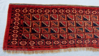 """Beshir torba, 1'3"""" x 4'  An appealing torba with a tile design enhanced by the diagonal rows of blue and red. In full pile with all natural dyes."""