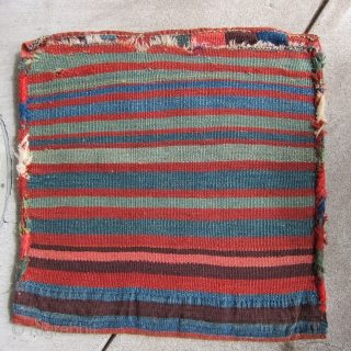 Antique Kurd bag, 2' x 2', deeply saturated colors and glossy wool.