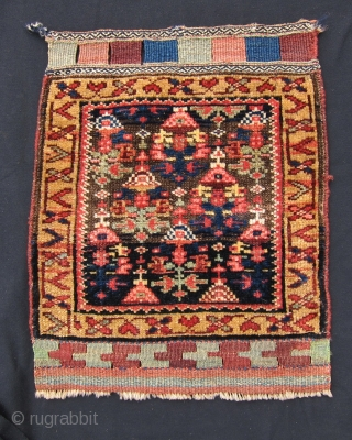 "Kurd bag face, 1'7"" x 2', The oxidized approximately 2/3 of the field sets the floral design above the ground in a 3 dimensional perspective. The effect is quite intriguing especially as  ..."