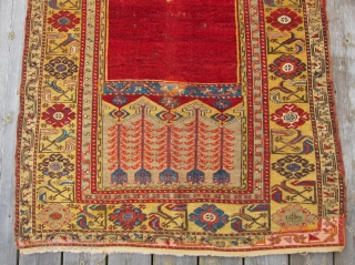 """Ladik Prayer Rug, 1st Qtr. 19th C.3'5"""" x 5'4""""An early Ladik prayer rug., circa 1800, with an unusual treatment of the mihrab. The customary stepped sides of the arch have been simplified  ..."""