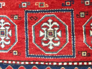 """Late 19th C. Kazak Bordjalou, 4'3"""" x 6'10"""" A particularly beautifully balanced design with classic Bordjalou field and border elements. The rug is well preserved having been hung on the wall for many  ..."""