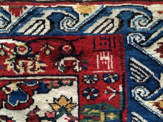 Antique Seychur around 1880 very nice colours size 185x113 in cm.Full pile condition.