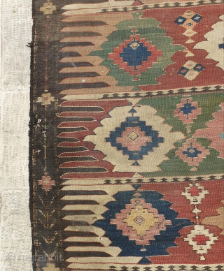 Fascinating KHALAJ kilim  Aged 150 - 160 years old (circa 1860) Almost in good  condition,fringes are a bit damaged Have three holes(as small as a coin) Needs simple wash with water Measurements  290*172 cm  ...