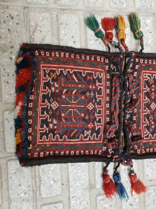 Enchanting Bakhtiary mini size khorjin(achmeh),excellent  condition  Edges are weaved perfectly with goat hair A rare piece