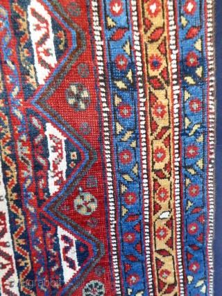 Ref 1637 Antique Khamseh rug, circa 1880. 6'11 x 4'11 - 210 x 150.  Low but not worn with few small restorations. Sides replaced. Absolutely brilliant fresh colours