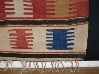 Ref 1287 Kazak kelim. Nineteenth century.  6'8 x 5'2 - 203 x 152. In good condition with clear natural colours.