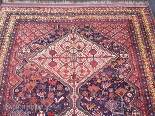 Ref 1504 Antique Khamseh carpet. 9'2 x 5'6 - 281 x 170. Circa 1880 With excellent colours and no restoration.  The field with many birds and animals