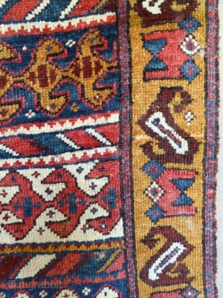 Ref 1534 North West Persian rug with brilliant and unusual colour palette. Mid nineteenth century. 6'0 x 2'11 - 183 x 89.  Mounted on fabric but in mainly good condition. dont forget  ...