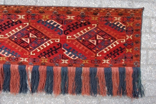 "Fine Antique Ersari Turkoman trapping 151 x 42 cm (5ft x 1ft 5"") 2nd half 19th century. All natural dyestuffs, colours: red, dark blue, greenish blue, yellow, orange, ivory, brown. Condition: close  ..."