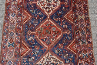 "Antique Qashqai rug 206 x 143 cm (6ft 10"" x 4ft 9"") 1st part 20th century. All natural dyes. Condition: very good, evenly medium to low pile all over (very minor wear  ..."