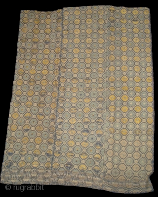 Chinese minority Pui tribe blanket, silk & cotton in good condition. 93x122cm
