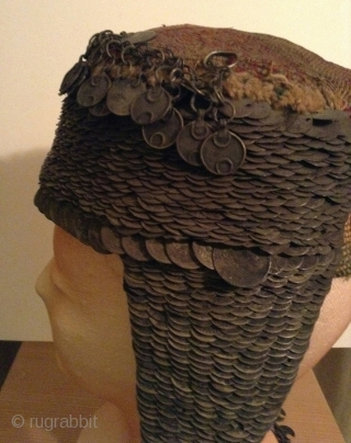 This is a very rare and old Arab woman's wedding hat from the city of Bethlehem in Israel. There are a few similar hats at the Folk Art Museum in Santa Fe,  ...